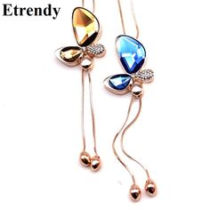 Fine Trendy Statement Crystal Butterfly Tassel Long Necklace Women 2017 New Gold Plated Jewelry Bijoux Necklaces & Pendants