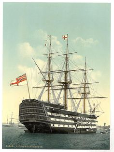 HMS Victory is a first-rate ship of the line of the Royal Navy, laid down in 1759 and launched in She is most famous as Lord Nelson's flagship at the Battle of Trafalgar in Tall Ships, Old Sailing Ships, Hms Victory, Ship Of The Line, Wooden Ship, Royal Navy, Water Crafts, Battleship, Old Photos