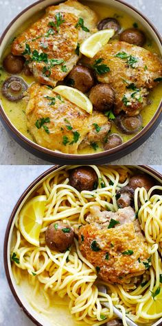 Creamy Garlic Chicken with Mushrooms, pressure cooked in an Instant Pot. Juicy, tender and moist chicken thighs that fall off the bones. Serve with spaghetti for a delicious weeknight dinner | rasamalaysia.com