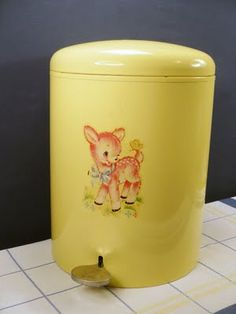 Nappy bin (or diaper pail) with cute deer decal.