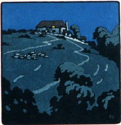 Modern Printmakers: John Hall Thorpe, woodcut Love the night time light.