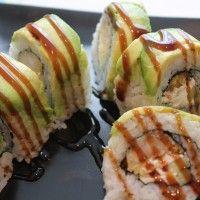 Shrimp Tempura Roll with Avocado and Cucumber.