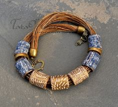 Polymer clay jewelry Denim dreams by TataFisherBiju on Etsy