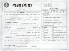Formal Apology Notepaper