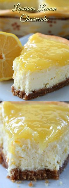 This Luscious Lemon Cheesecake from Great Grub, Delicious Treats is SO DELICIOUS! It's creamy, moist, heavenly and full of the most amazing lemony flavor!