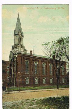 Parkersburg, WV - Baptist Church - Pre-Linen Postcard - 1910.