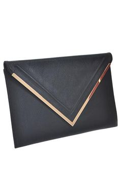 Large Vintage Faux Leather Envelope Detail Clutch with Gold Trim Measures 15Wx10H