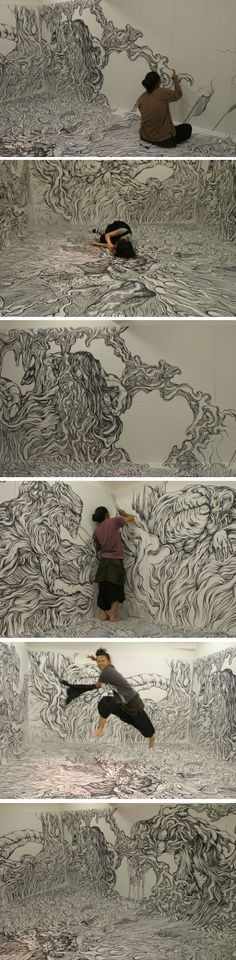 Une incroyable pièce totalement illustrée au marqueur par l'artiste japonais Yosuke Goda. (I don't speak French but I think) an incredible piece totally illustrated from marker by the Japanese artist Yosuke Goda Street Art, Instalation Art, Arte Sketchbook, Wow Art, Art Graphique, Art Plastique, Oeuvre D'art, Japanese Art, Art Drawings