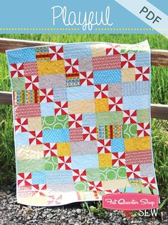 Cluck Cluck Sew Playful Downloadable PDF Quilt Pattern<BR>Cluck Cluck Sew