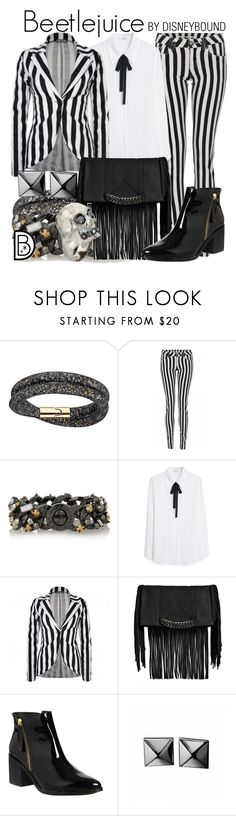 """""""Beetlejuice"""" by leslieakay ❤ liked on Polyvore featuring Swarovski, Quiz, Marc by Marc Jacobs, MANGO, Steve Madden, Office, Waterford, Alexander McQueen, Halloween and beetlejuice"""