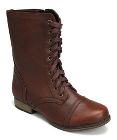 Brown Lace-Up Boot #zulily #zulilyfinds