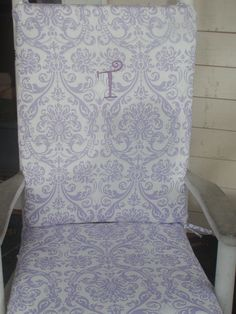 Rocking Chair Cushions for Renee in Navy, custom sizes & monogram via Etsy