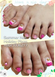 Pastel pink polka dot design Summer Nail, Holiday Plaza (McDonald's upstairs 3rd floor)  ☎️+6073336277 WhatsApp +60127242222 Instagram summernail_hp FaceBook Summer Nail Professional Nail Care
