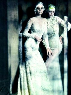 The Haute Couture. Monika Jagaciak & Frida Gustavsson in Givenchy Fall 2011 haute couture; photographed by Paolo Roversi for Vogue Italia, September 2011.