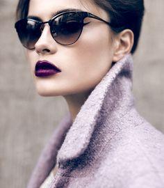 Aubergine lips.