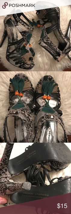 Chinese Laundry Snakeskin Heels Sandals that are well loved but have lots of wear left in them! Chinese Laundry Shoes Heels
