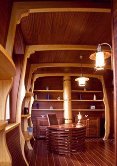 yacht interior design by Sa-Fa Luxury Yacht Interior, Luxury Yachts, Interior Design Work, Bathroom Interior Design, Sailboat Restoration, Boat Furniture, Shanty Boat, Sailboat Interior, Yacht Builders