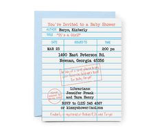 Library Baby Shower Invitations, Build a Library Invitations, Storybook Shower, Bring a Book Baby Shower, Library Card Invite, Printable by PaperLarkStudio on Etsy https://www.etsy.com/listing/168496716/library-baby-shower-invitations-build-a