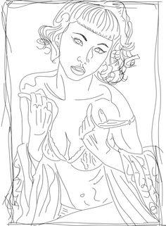 Figure study for Lino cut print. Kevin Houchin. 1/10/15
