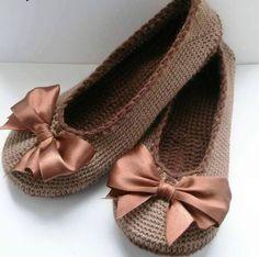 bayan örgü ev ayakkabısı yapımı