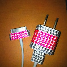 Super Easy DIY phone charger...Under $10!  Just buy self-adhesive gems and stick them on!!