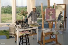 Portrait of American artist Jane Freilicher as she stands in her studio, Water Mill, Long Island, New York, August 1992.