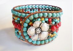 Turquoise Jewelry Southwestern Jewelry 5 Row Bracelet Leather Wrap Bracelet Red & Turquoise Jewelry    Rich, playful, lush bold piece to wear with