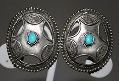 1970s-1980s Turquoise and Silver Graziano Earrings via Etsy