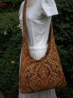 Handmade Hippie Festival Bag, Large Tapestry Tote, Earthtone Upholstry Fabric, OOAK Hippie Clothes. $34.99, via Etsy.