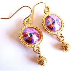 SALE, Pink Swarovski Crystal Earrings, Rose Rivoli Crystal Earrings,... ($21) ❤ liked on Polyvore featuring jewelry, earrings, rose jewellery, vermeil jewelry, pink crystal jewelry, gold vermeil earrings and earring jewelry
