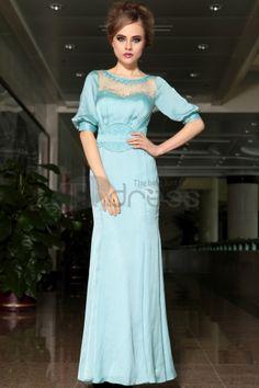 Retro sky blue evening dress Puff