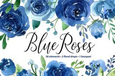 Blue Watercolor Roses Flowers Leaves by GraphicsDish on @creativemarket