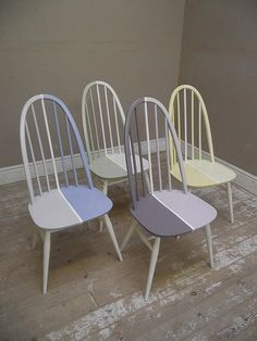 nice Bright Ercol Mid Century Vintage Dining Chairs