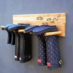 Handmade Solid Oak Welly Rack - 'Muddy Boots'