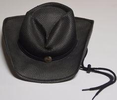 19fcae68ed2 SHADY BRADY Small Black Cowboy Western Straw Hat Silver Colored Concho Rope  Trim