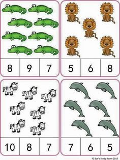 Animals Count and Clip Cards (Numbers by Sue's Study Room Counting Activities, Preschool Learning Activities, Teaching Math, Preschool Activities, Kids Learning, Learning Numbers, Math Numbers, Kindergarten Math Worksheets, In Kindergarten