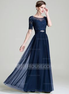 A-Line/Princess Scoop Neck Floor-Length Ruffle Beading Appliques Lace Sequins Zipper Up Sleeves Short Sleeves No 2016 Dark Navy Spring Summer Fall Winter General Plus Tulle Mother of the Bride Dress