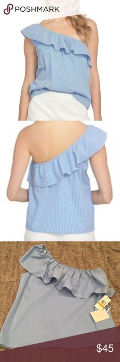 ⭐️HP⭐️ 1. State one shoulder ruffled top NWT Blue and white striped  Ruffled one shoulder top by 1.State NWT.  Purchased at Dillard's.  I love this top! Own it myself in a different size.   Bundle for private offer or submit an offer via offer button. XOXO 1. State Tops Blouses
