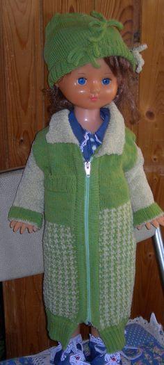 Пальто, Жаккардовое пальто для большой куклы.Рост 66 см.Связано на машине рисунком