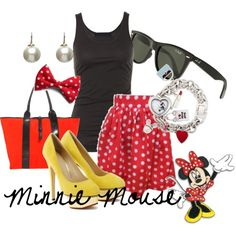 Minnie Mouse outfit. So cute to wear for a day at Disneyland, minus yellow heels. My feet would be killing me. Maybe some yellow flats instead? lol.