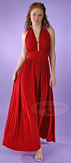 Broad Minded Clothing - Glamorous 1970's Vintage Reproduction Red Jersey Knit Long Halter Dress with Plunging Neckline $79.95