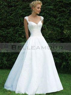 Robe de mariée Glamour Taffetas Mancheron Ballon Longue Col en coeur