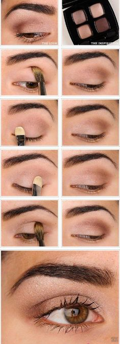 Natural Eyeshadow | Eyeshadow Tutorials for Brown Eyes - | How To Make Eyes Look Sexy And Dramatic by Makeup Tutorials at http://makeuptutorials.com/12-colorful-eyeshadow-tutorials-brown-eyes/