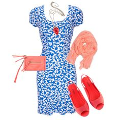 Girly Pink, Red, and Blue picnic outfit