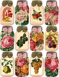 BuY OnE GeT OnE FREE -FrUIT and Flowers In A Jar Vintage Art Hang/Gift Tags- Printable Collage Sheet Download JPG Digital File. $2.50, via Etsy.