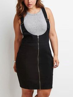 Plus Pinafore Dress: adjustable straps, scoop neck, zipper up front.