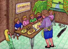Mom Makes Pies is a memory drawing of childhood by Suzanne Berton from Sudbury Ontario Region Canada, Rayside Balfour