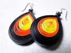 Simply Quilled Paper Earrings in Yellow and Orange. Lightweight and Colorful