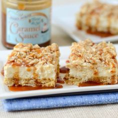 Salted Caramel Cheesecake Bars made with @elliquark via www.ingredientsofafitchick.com