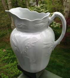 Antique White Ironstone Ewer / Pitcher Wheat & Rose Shape - R